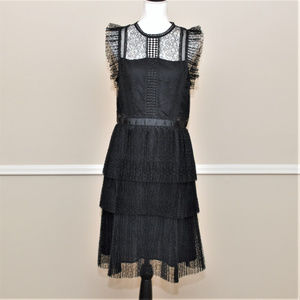 Heartloom Black Pleated Tiered Lace Dress Size L